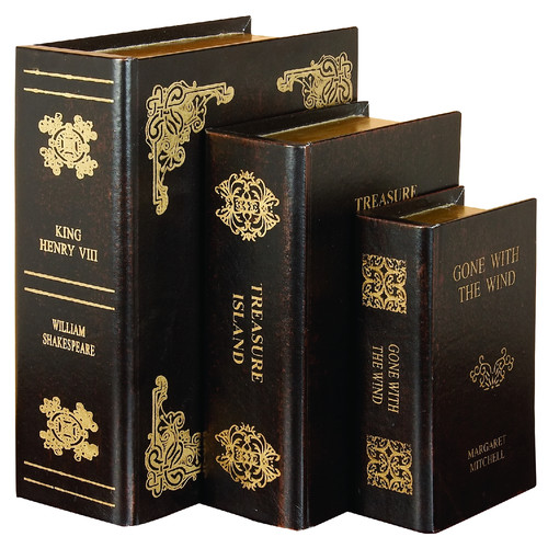 Faux Leather Book Boxes Brown Gold 3 Piece Set Home Library Decor 40925