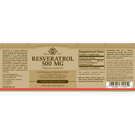 Solgar Resveratrol 500 Mg Vegetable Capsules 30 Ct Walmart Canada