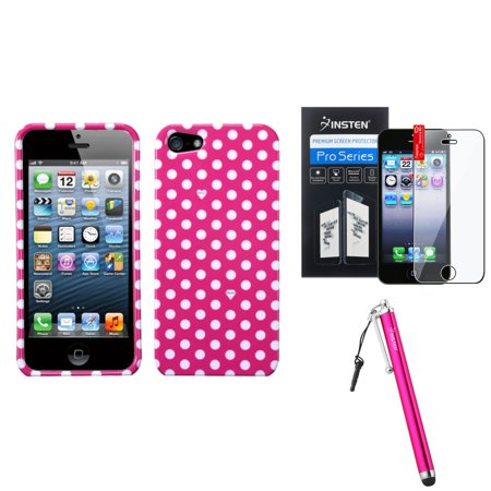 Insten Dots(Pink/white) Case For iPhone 5 / 5s + Stylus + Screen Guard