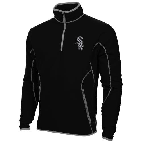 Antigua Chicago White Sox Ice Polar Fleece Quarter Zip Pullover Jacket - Black