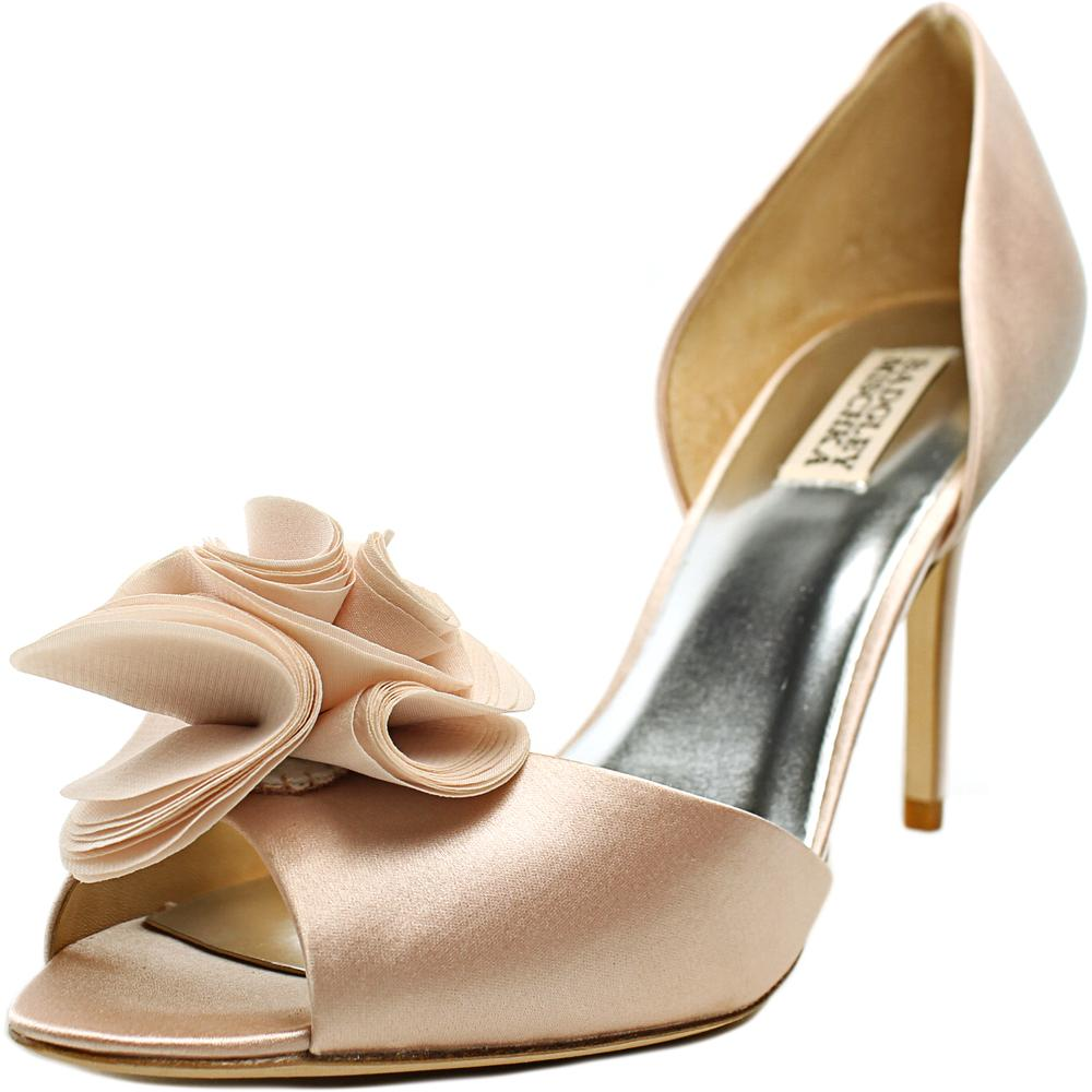 Badgley Mischka Amaze Peep-Toe Canvas Heels by Badgley Mischka
