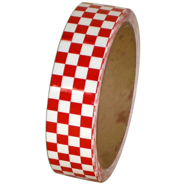 Laminated Checkerboard Outdoor Vinyl Tape 1 inch x 18 yards Red/White