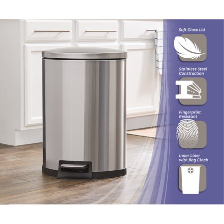 Better Homes & Gardens 11.8G Stainless Steel Semi Round Waste Can