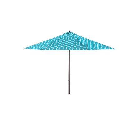 Team Umbrella - Lauren & Company 9' Teal/White Moroccan Pattern Patio Umbrella