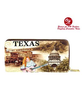 Womens Wallet The Beauty of Texas Single Zip Around Coin Wallet Handbag Cities Design Medium Size