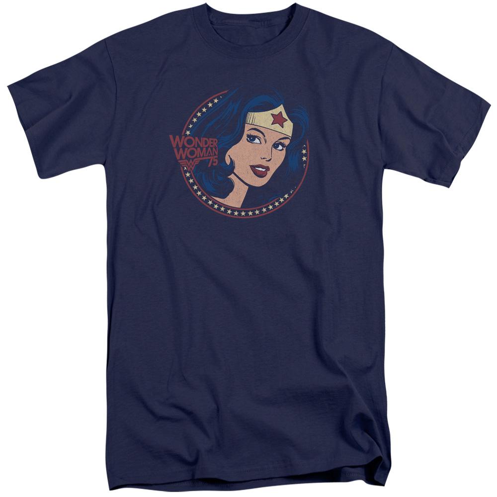 DC Comics Wonder Woman75 Starburst Portrait Mens Big And Tall Shirt