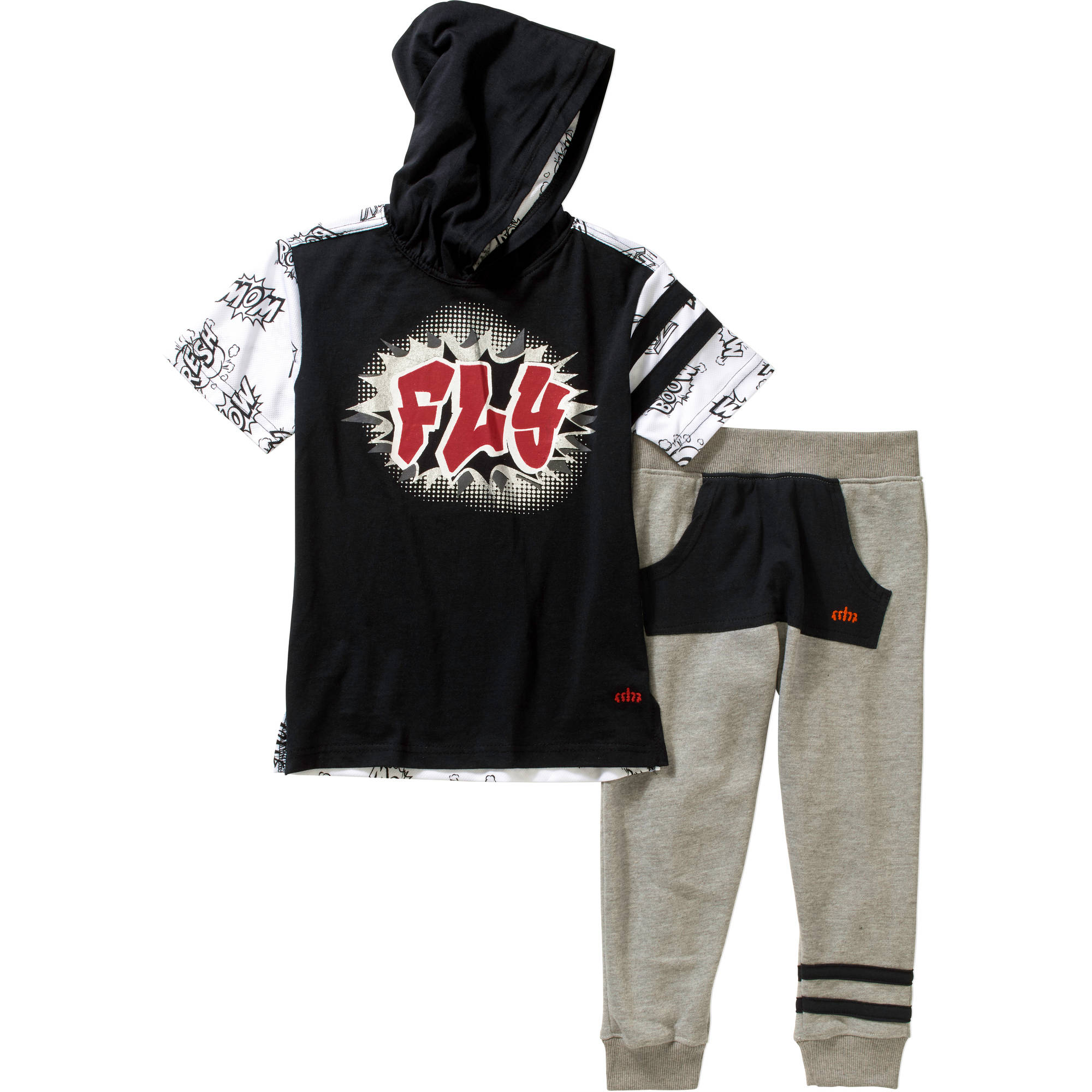 Blac Label Little Boys' Short Sleeve Tee with Fleece Jogger Set