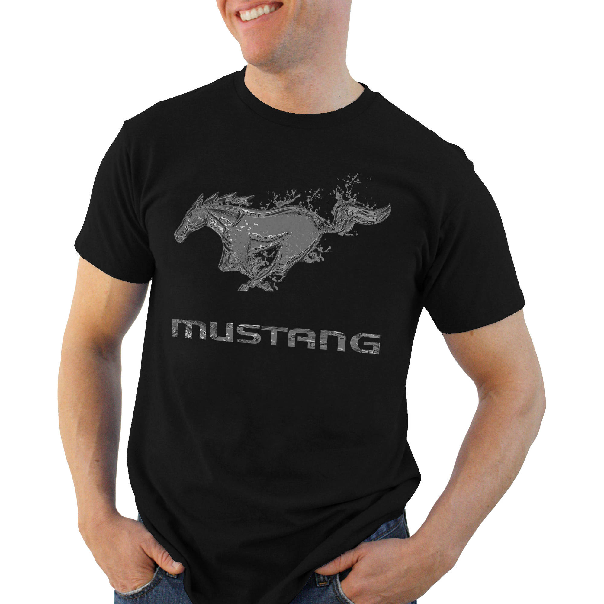 Ford Chrome Mustang Big Men's Graphic Tee