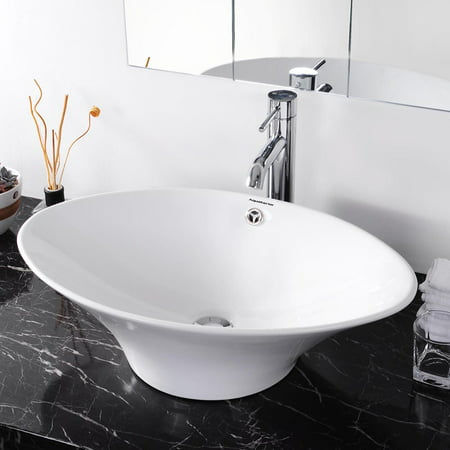 Aquaterior Oval White Porcelain Ceramic Bathroom Vessel Sink Bowl Basin with Chrome Drain (White Bathroom Vessel Sink)