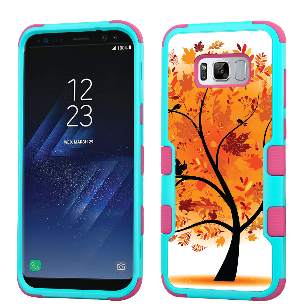Hybrid Case for Samsung Galaxy S8 PLUS / S8+, OneToughShield ® 3-Layer Shock Absorbing Phone Case (Teal/Pink) - Golden Tree