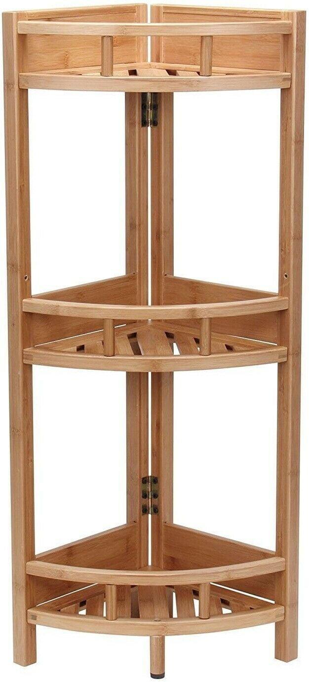Bamboo Storage Shelf 3 Tier Bathroom Wood Shelves Natural ...