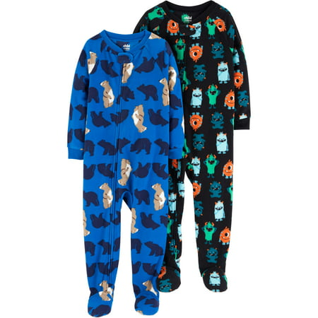 Child of Mine by Carter's Microfleece Footed Blanket Sleeper, 2-pack (Baby Boys & Toddler Boys) - Baby Wonder Woman Onesie