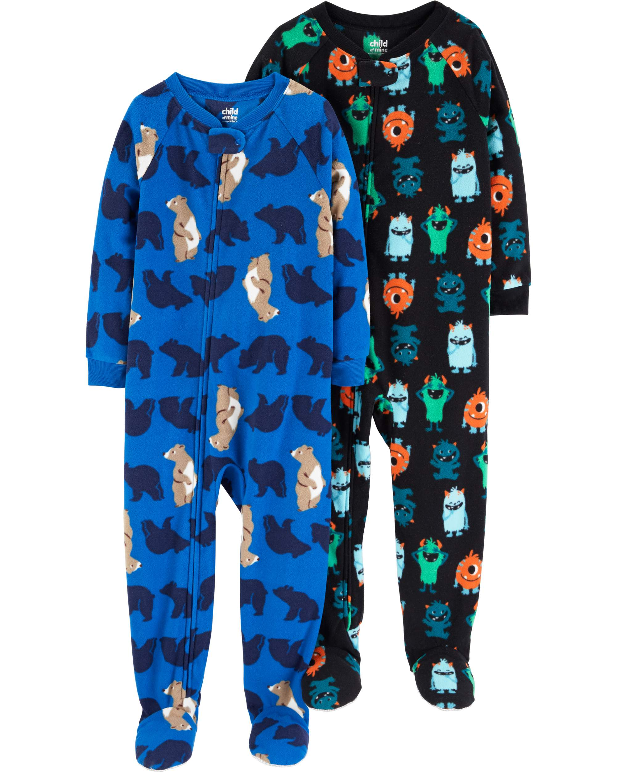Child of Mine by Carter's Microfleece Footed Blanket Sleeper, 2-pack (Baby Boys & Toddler Boys)