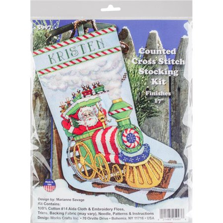 Ihs Cross - Santa's Train Stocking Counted Cross Stitch Kit-17