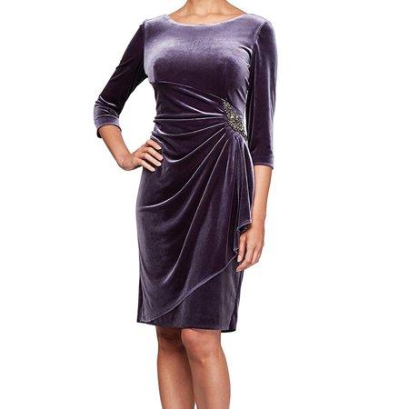 Womens Sheath Dress Velvet Side-Ruched 8 Purple Party Dresses