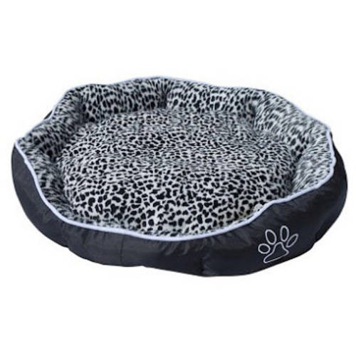 ALEKO Soft Plush Pet Cushion Crate Bed For Dogs and Cats With Removable Insert Pillow, Black and White Leopard Print