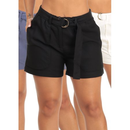 SUMMER SALE! BEST VALUE! Casual Stylish Womens Juniors High Rise Linen Belted Shorts (3 PACK G24)