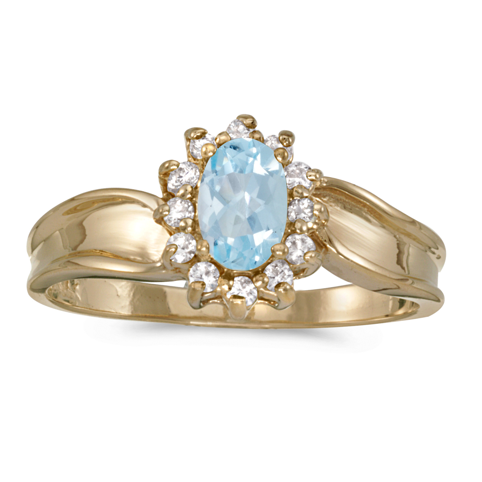 14k Yellow Gold Oval Aquamarine And Diamond Ring by