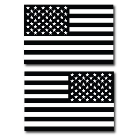 Black and White Opposing American Flags Car Magnet Decal - 4x6 2 Pack, Heavy Duty for Car Truck SUV …