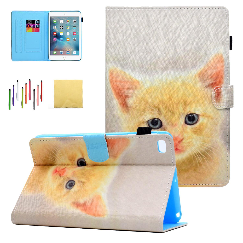 Universal Case for iPad Mini 4 3 2 1, Goodest PU Leather Folio Folding Stand Cover with Pencil Holder Auto Wake/Sleep for Apple iPad Mini 1st/ Mini 2nd / Mini 3rd/ Mini 4th Gen Tablet, Lovely Cat