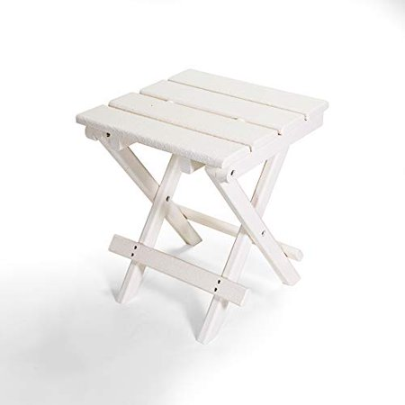 Resin TEAK HDPE Folding Outdoor Side Table Fully Assembled Weather Resistant, Patio Side Table for Small Spaces Outside (Milky White)