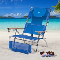 Ostrich 3-in-1 Lightweight Aluminum 5 Position Reclining Beach Chair, Blue
