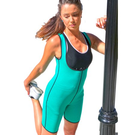 Hot Shapping Neoprene Bodysuit - Body Slimming Thermal Weight Loss Suit - Sauna Sweat Suite For Gym, Workout, & Body Shaper - Green, Small - Gatsby Suits For Sale