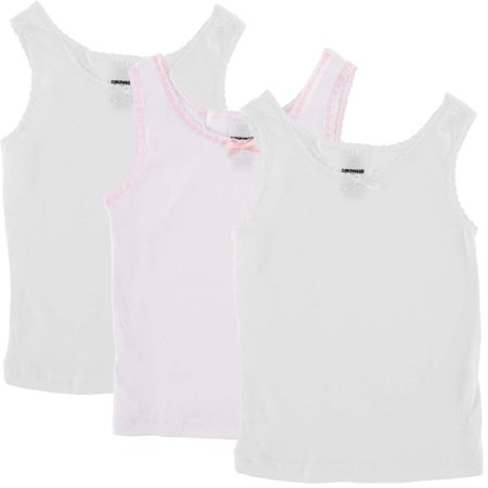 Danawear (3 Pack) Toddler Girls Camisole Undershirt Tank Tops With Lace Trim For Kids Children
