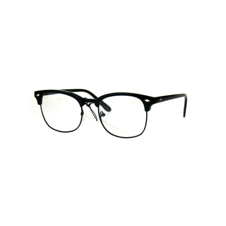 Mens Classic Horned Half Rim Hipster Nerdy Retro Eye Glasses All Black (Ray-ban Brille Half Frame)