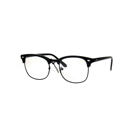 Mens Classic Horned Half Rim Hipster Nerdy Retro Eye Glasses All Black (Big Glasses Frames)