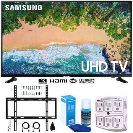 "Samsung UN50NU6900 50"" NU6900 Smart 4K UHD TV (2018) w/ Wall Mount Bundle Includes, Wall Mount Kit for 45-90 inch TVs, Screen Cleaner (Large Bottle) and SurgePro 6-Outlet Surge Adapter w/ Night Light"