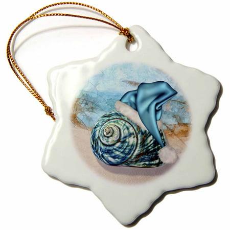 3dRose Coastal Beach Christmas Seashell Blue Santa Hat - Snowflake Ornament, - Santas Paper Snowflake Studio