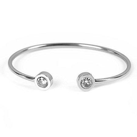 Sexy Sparkles Women Girls Jewelry Stainless Steel Open Cuff Bangle Bracelet Silver Tone (Cuff Two Tone Bracelet)