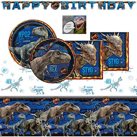 Cake Table Banner (Jurassic World Fallen Kingdom Dinosaur Party Supplies Pack For 16 -  Birthday Banner, Table Cover, Cake & Lunch Plates, Napkins and)
