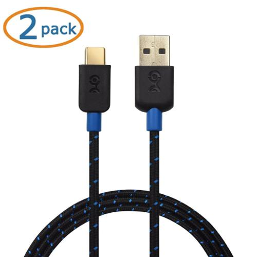 Cable Matters 2-Pack USB-C Cable (USB A to USB C Cable / USB C to USB Cable) with Braided Jacket in Black 3.3 Feet for Samsung Galaxy S9/S8/Note 8, LG G6/V30, Nintendo Switch, Google Pixel and More
