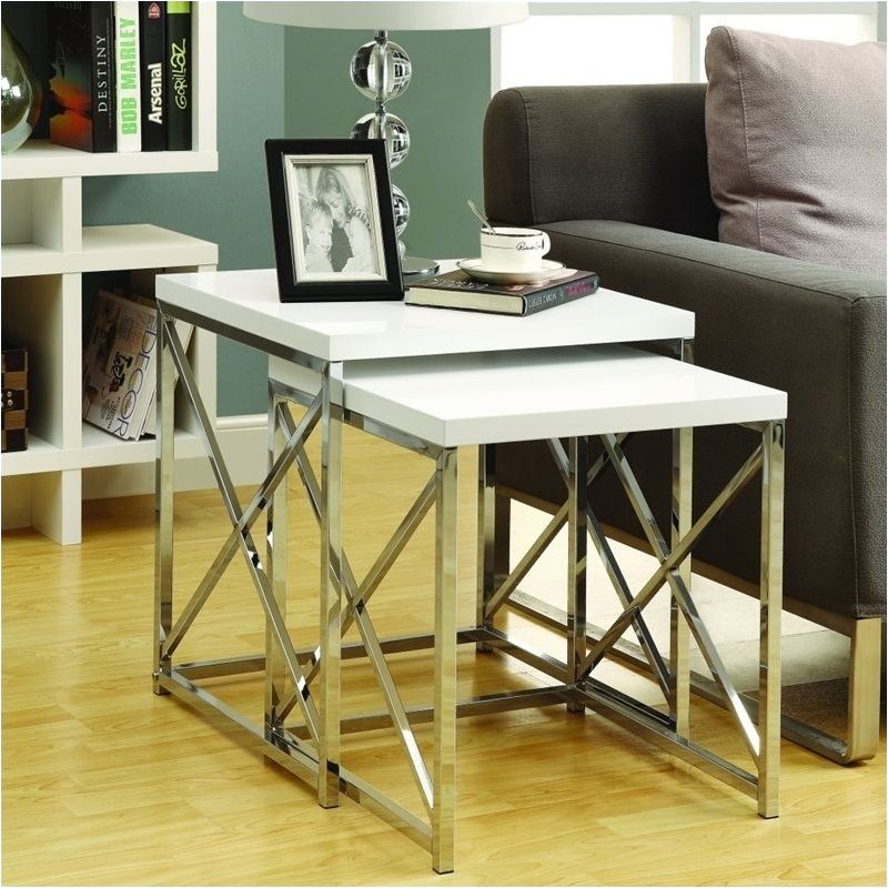 Pemberly Row 2 Piece Metal Nesting Tables in Glossy White and Chrome