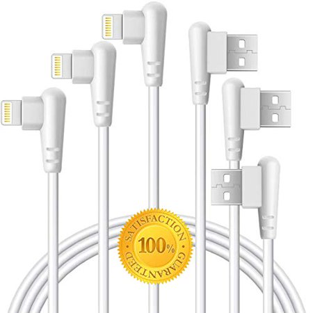 Right Angle Charger 10FT Cord 90 Degree Fast Data Cable Compatible for iPhone X Case/8/8 Plus/7/7 Plus/6/6s Plus,iPad Mini Case (White) 3M, (Best Iphone 4 Charger Cable)