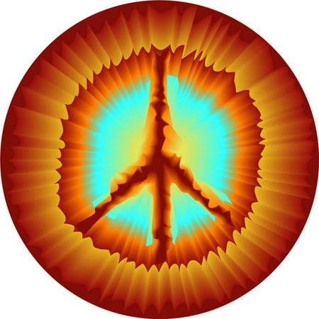 Custom Wall Decal Tie Die Peace Sign Wall - Vinyl Wall Sticker : 10 X 10