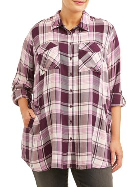 Terra & Sky Women's Plus Size Long Sleeve Plaid Multi Tunic