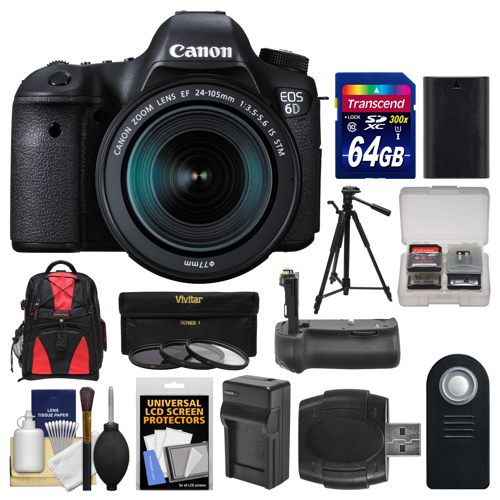 Canon EOS 6D Digital SLR Camera Body & EF 24-105mm IS STM Lens with 64GB Card + Backpack + Battery & Charger + Grip +... by Canon