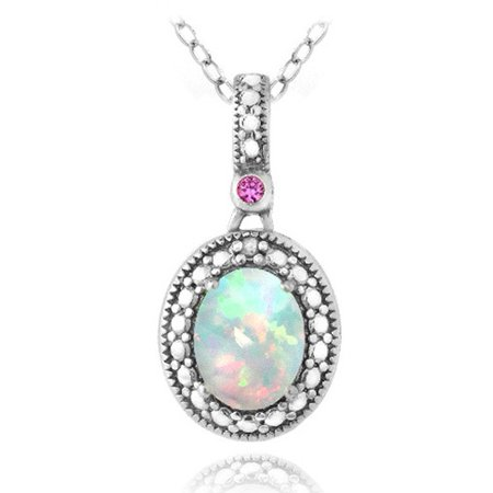 Diamond Accent Created White Opal and Pink Sapphire Sterling Silver Oval Necklace, 18