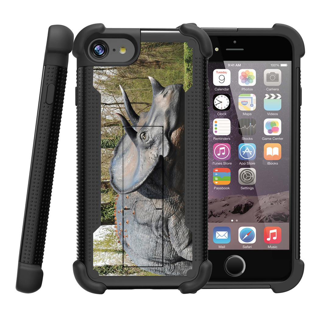 "Apple iPhone 7 4.7"" Shockwave Armor Dual Layer Kicsktand Case - Triceratops"