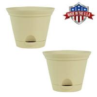 2 Pack of 11.5 Inch Latte Quartz Plastic Self Watering Flare Flower Pot or Garden Planter