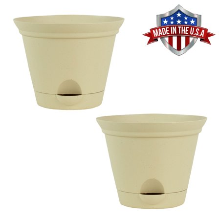 2 Pack of 12 Inch Latte Quartz Plastic Self Watering Flare Flower Pot or Garden (Window Flower Pot)