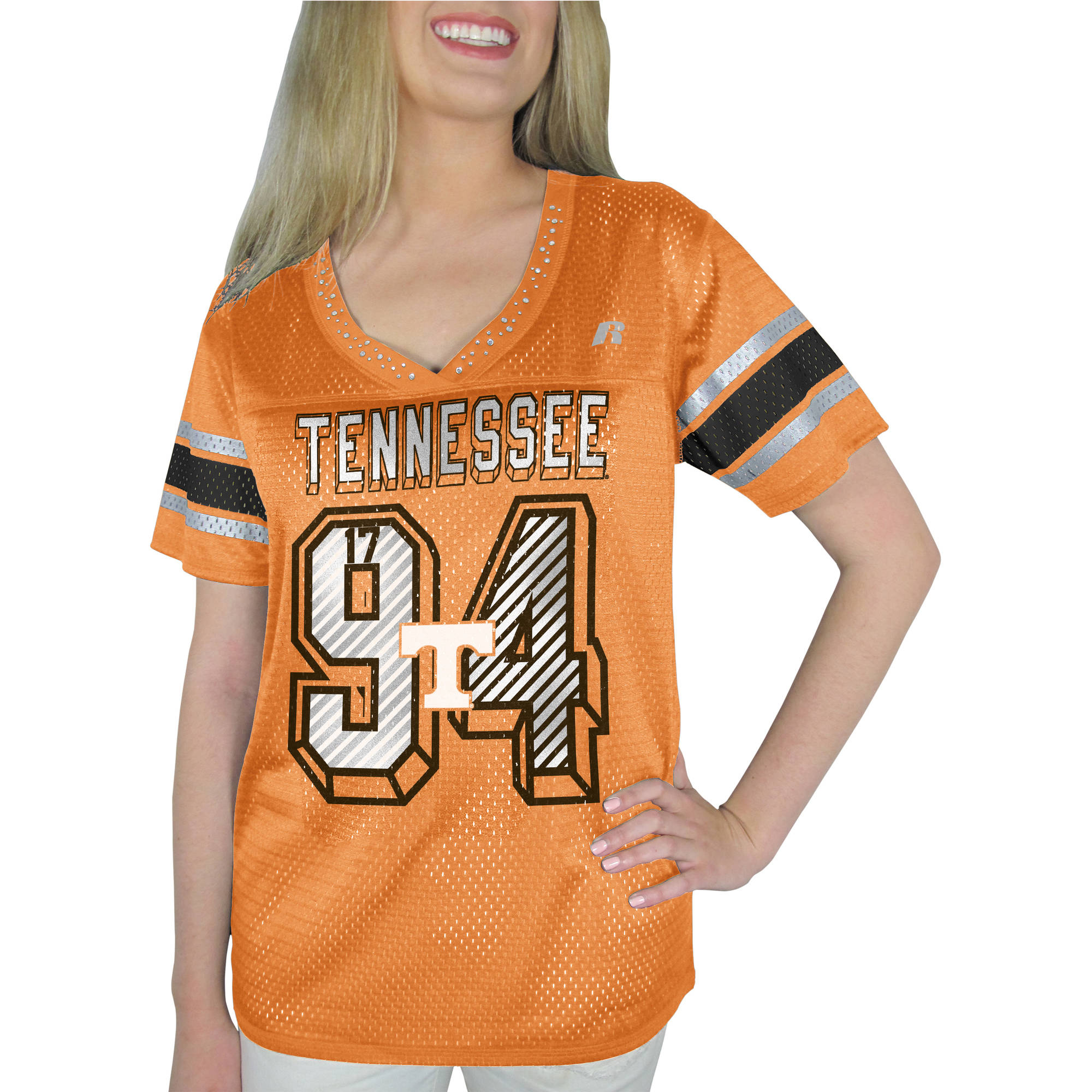 Russell NCAA Tennessee Vols, Women's Heather V-neck Game Jersey