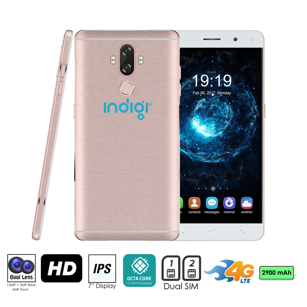 "GSM Unlocked 4G LTE 6"" SmartPhone by Indigi® (OctaCore Processor @ 1.3GHz + Android 7 + Fingerprint Scanner ) Rose Gold"