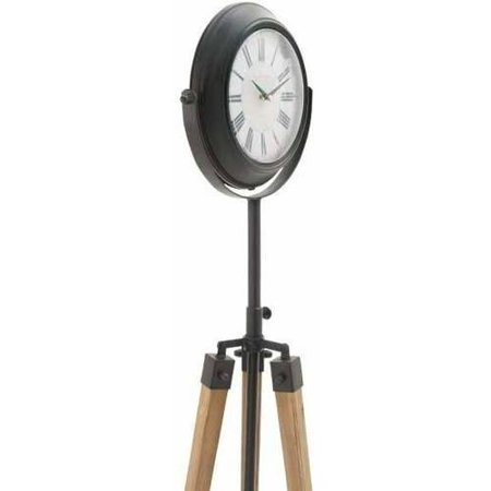 Decmode Metal and Wood Tripod Floor Clock, Multi Color