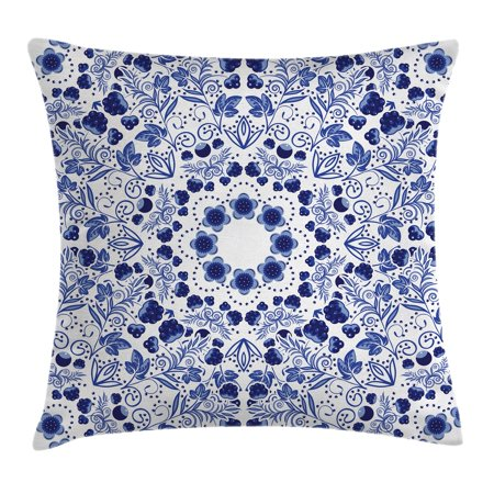 Flower Throw Pillow Cushion Cover, Middle Eastern Swirl Petals with Ethnic Ottoman Folk Art Effects Boho Arabesque Design, Decorative Square Accent Pillow Case, 16 X 16 Inches, Blue, by Ambesonne