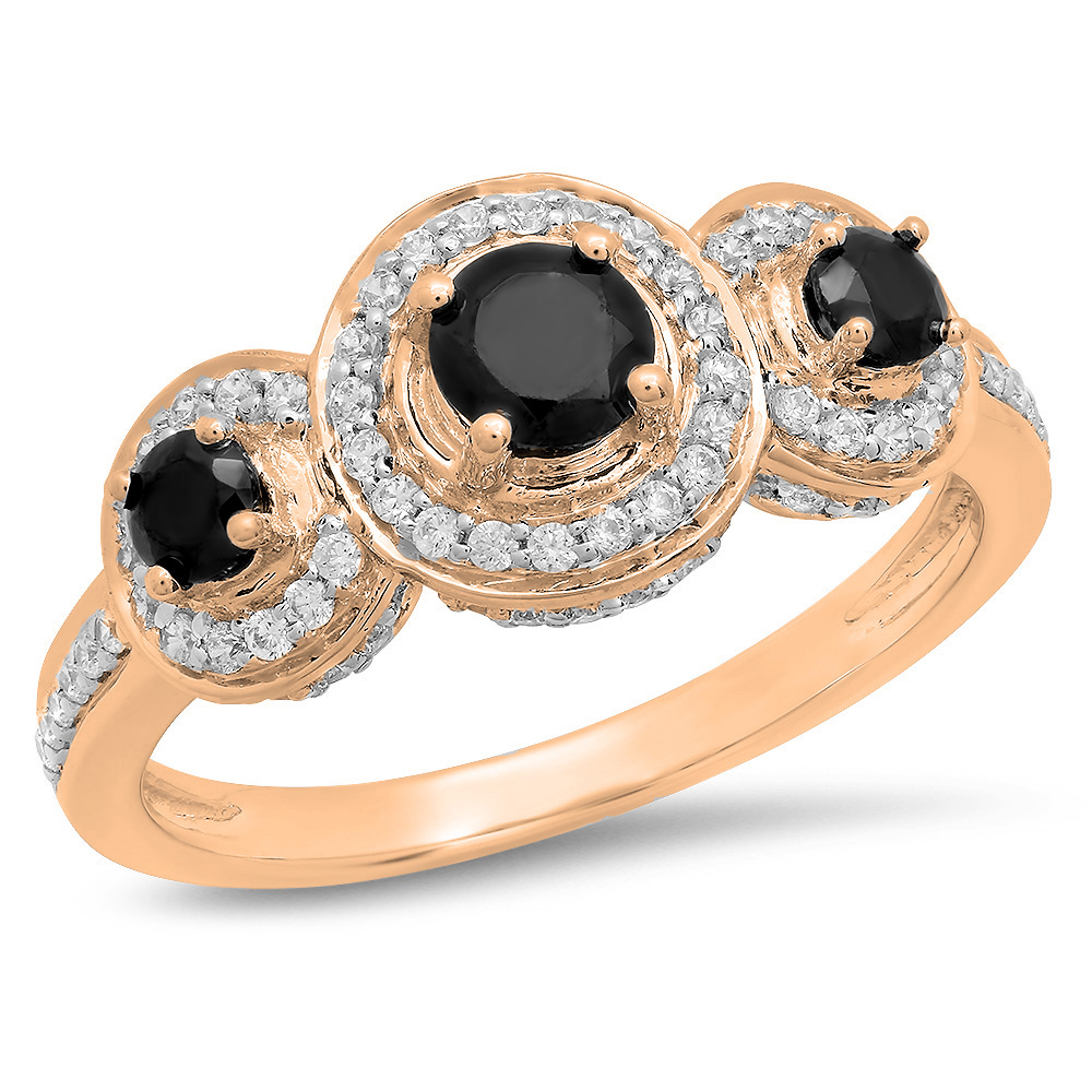 Dazzling Rock 1.35 Carat (ctw) 10K Rose Gold Round Black ...