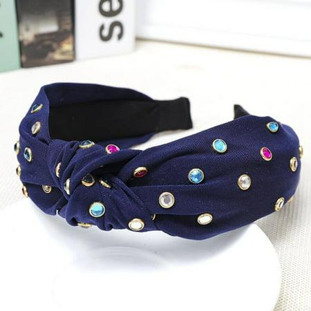 KABOER Womenand#39;S Pearl Gemstone Knot Tie Headband Hairband Fabric Cross Hair Hoop Accessories (Gem Hair Band)